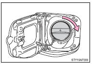 When replacing the fuel tank cap, turn it until a clicking sound is heard.